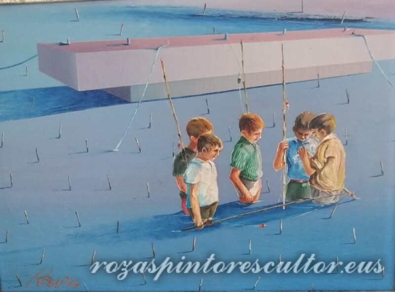 1974 Día de pesca 45x35